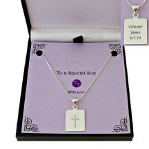 Personalised Sterling Silver Necklace with Engraved Cross